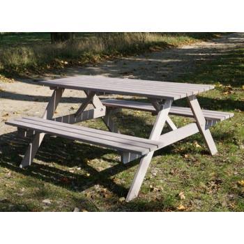 Sestava stolku a lavic- zahrady / terasy / oslavy, masivní dřevo, šedá, 160 cm