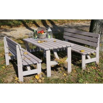 Zahradní stůl z masivu, rustikální šedivý vzhled, 150 cm