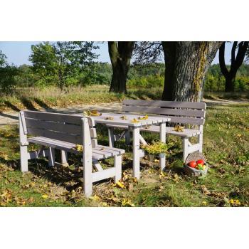 Zahradní lavice z masivu, šedivý rustikální vzhled, 150 cm