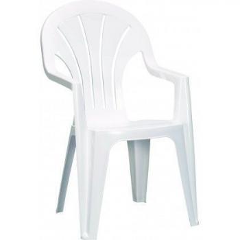 Plastová židle za zahrady / terasy, s područkami, bílá