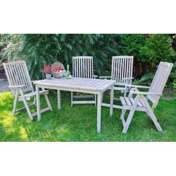 Dřevěný rustikální venkovní stůl na zahradu / terasu, šedý, 130 cm