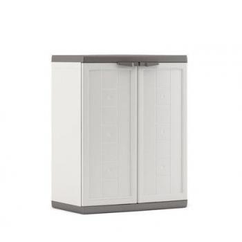 Plastová skříň na zahradu / terasu, uzamykatelná, bílá / šedá, 68x39x85 cm