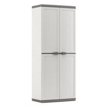 Vysoká plastová skříň na zahradu / terasu, uzamykatelná, bílá / šedá, 68x39x166 cm