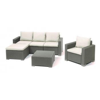 Zahradní ratanový nábytek z umělého ratanu, pohovka do L, cappuccino