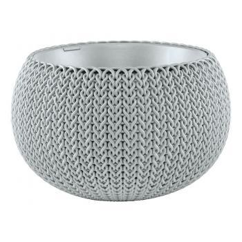 """Okrasný květináč """"uříznutá koule"""", pletený vzor, průměr 28 cm, šedý"""