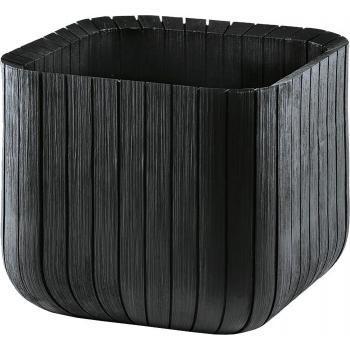 Moderní plastový květináč krychle, struktura dřeva, antracit, 40x40 cm
