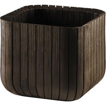 Moderní plastový květináč krychle, struktura dřeva, hědý, 30x30 cm