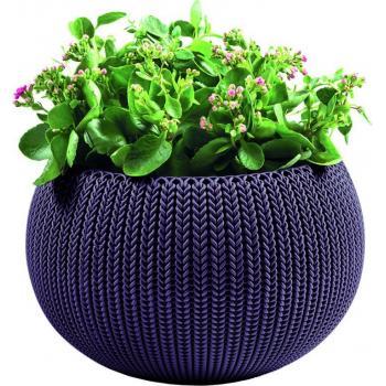 """Okrasný květináč """"uříznutá koule"""", pletený vzor, průměr 36 cm, fialový"""