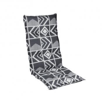 Měkké polstrování na křeslo, abstraktní vzor, šedá / antracit, 118x50 cm