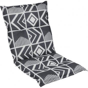Polstrování na křeslo- nízké opěradlo, abstraktní vzor, šedá / antracit, 98x50 cm