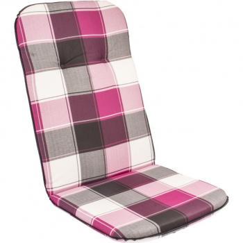 Polstr na zahradní židle a křesla, vysoká opěrka, růžová kostka, 116x50 cm