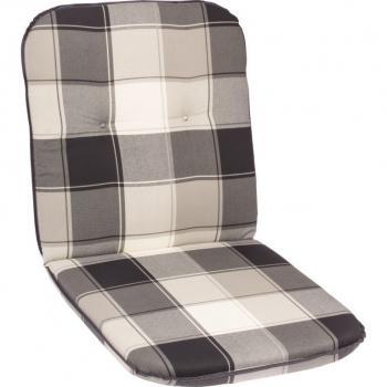 Polstrovaný podsedák na židle, nízké opěradlo, šedá kostka, 98x49 cm