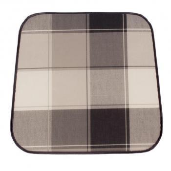 Polstrovaný podsedák na židli / křeslo, šedá kostka, 41x39 cm