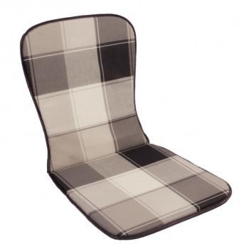 Polstrovaný sedák na křeslo s nízkým opěradlem, šedá kostka, 74x39 cm
