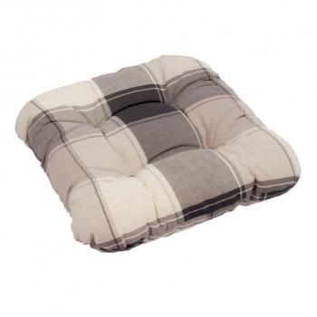 Vysoký měkký polstr / podsedák pro židle a křesla, šedá + vzor kostka, 38x38 cm