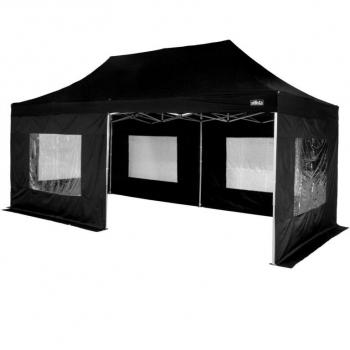 Větší párty stan kompletně uzavřený (boční stěny s okny) 3x6 m, černý