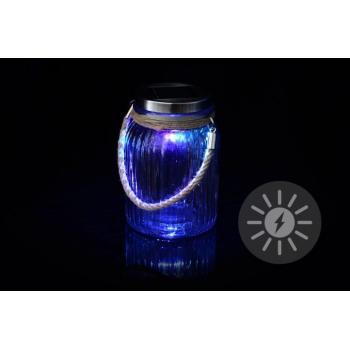 Ozdobná solární lampa na zahradu- sklenice, změna barev, 15,5 cm