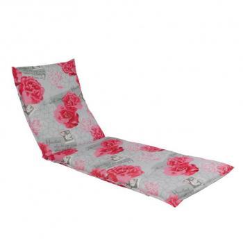 Měkká podložka pro zahradní lehátka, bavlna / polyester, šedá + potisk květů, 190x60 cm