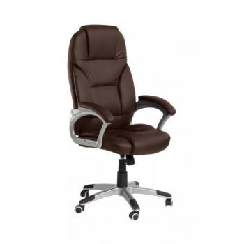 Měkce polstrovaná kancelářská otočná židle, eko kůže, šedá / hnědá