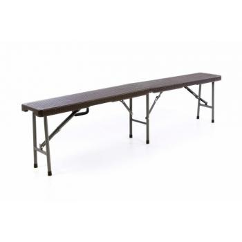 Přenosná skládací zahradní lavice, ratanový vzhled, kov / plast, hnědá, 180 cm