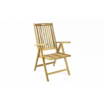 Zahradní skládací židle s područkami, nastavitelné opěradlo, teak