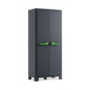 Vysoká plastová skříň uzamykatelná, nastavitelné police, tmavě šedá, 182x80x44 cm