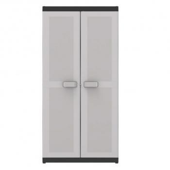 Vysoká plastová skříň uzamykatelná, nastavitelné police, šedá, 182x89x54 cm