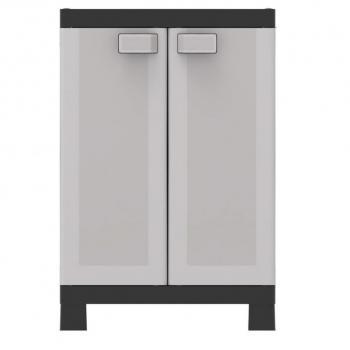 Plastová skříňka uzamykatelná, nastavitelné police, šedá, 97x65x45 cm