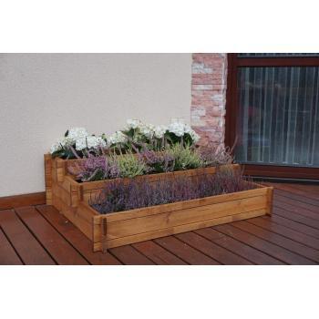 Velký dřevěný květináč na květiny / bylinky, kaskádovitý tvar, 110x88 cm