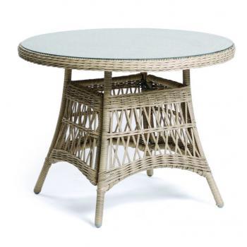 Kulatý venkovní stůl na terasu / balkon, skleněná deska, pletený vzhled, průměr 100 cm