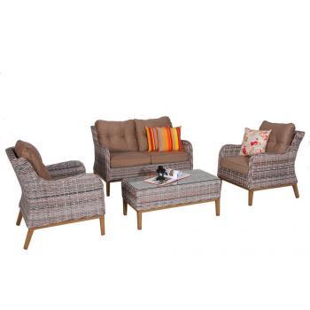 Souprava ratanového nábytku na zahradu / do interiéru, vysoká nosnost, šedá / hnědá