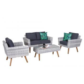 Sestava nábytku z umělého ratanu, historický vzhled, šedá / krémová