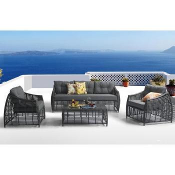 Designová polyratanová sestava nábytku na terasu, antracit / šedá