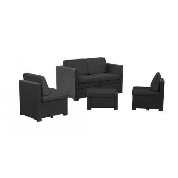 Bytelná moderní sestava ratanového nábytku, grafit / šedá