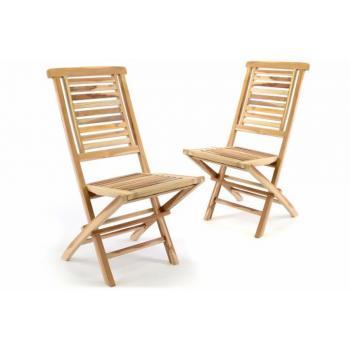 2 ks skládací zahradní židle z masivu, exotické teakové dřevo- přírodní