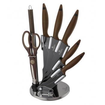 Luxusní dárková safa kuchyňských nožů ve stojanu, nerez, 8 ks