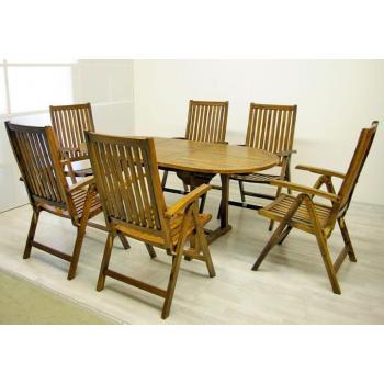 Větší souprava zahradního dřevěného nábytku, oválný stůl, akát, pro 6 osob