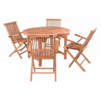 Menší rodinný set teakového zahradního nábytku, rozkládací stolek