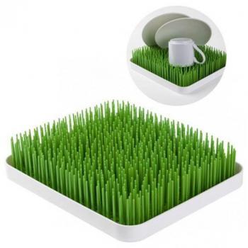 Ozdobný kuchyňský odkapávač na nádobí, travní koberec, bílá / zelená