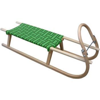 Dřevěné sáňky s kovovými lyžinami, textilní sedlo- zelené, nosnost 90 kg