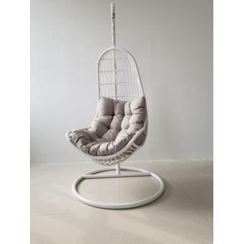 Závěsné relaxační křeslo venkovní / vnitřní, vč. kovové konstrukce, bílé, 200 cm