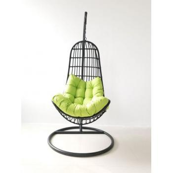 Závěsné relaxační křeslo venkovní / vnitřní, vč. kovové konstrukce, černé, 200 cm