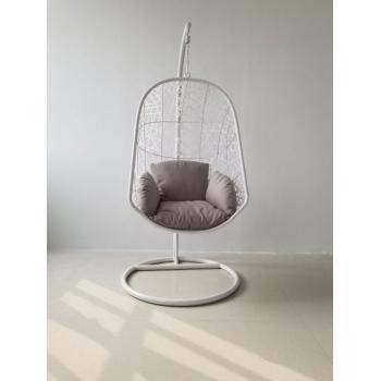 Závěsné houpací křeslo vč. nosné konstrukce a polstrů, bílé, 195 cm