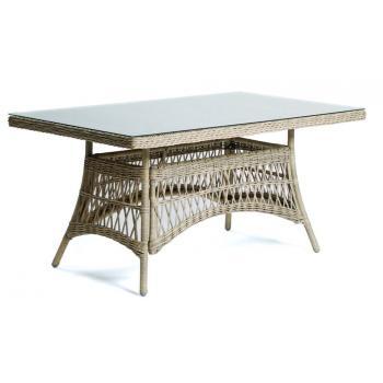 Luxusní stůl z umělého ratanu, zahrada / interiér, světlý, obdélník 160x90 cm