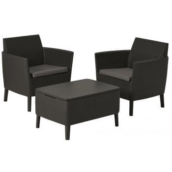 Balkonový ratanový set nábytku - umělý ratan, grafit / šedá