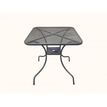 Čtvercový kovový stůl venkovní, drátěná horní deska, díra pro slunečník, 80x80 cm