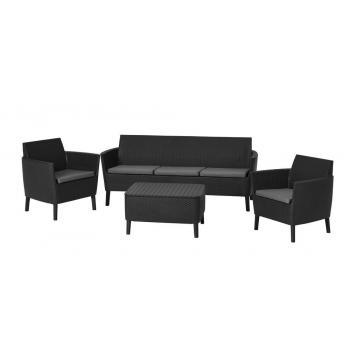 Polyratanová souprava venkovního nábytku, velká sedačka pro 3, grafit