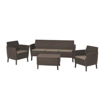 Polyratanová souprava venkovního nábytku, velká sedačka pro 3, hnědá