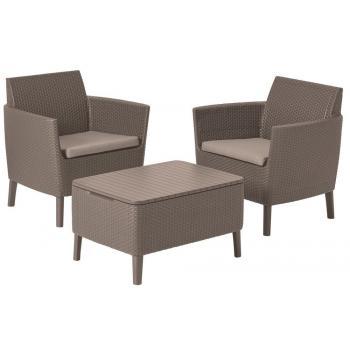 Menší sestava balkonového ratanového nábytku, stůl s úložným prostorem, cappuccino