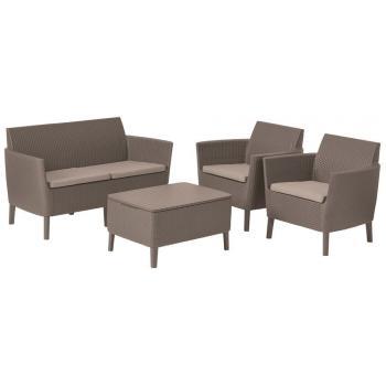 Rodinná sestava ratanového nábytku na zahradu / terasu, úložný prostor, cappuccino